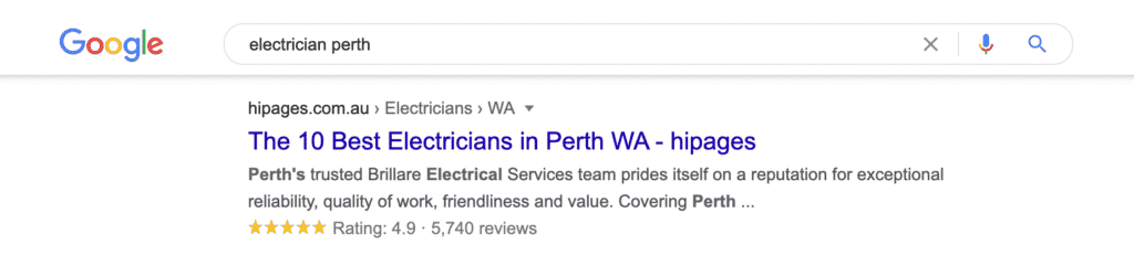 """Search results for """"Electrician Perth"""" display business directory HiPages as the first result."""