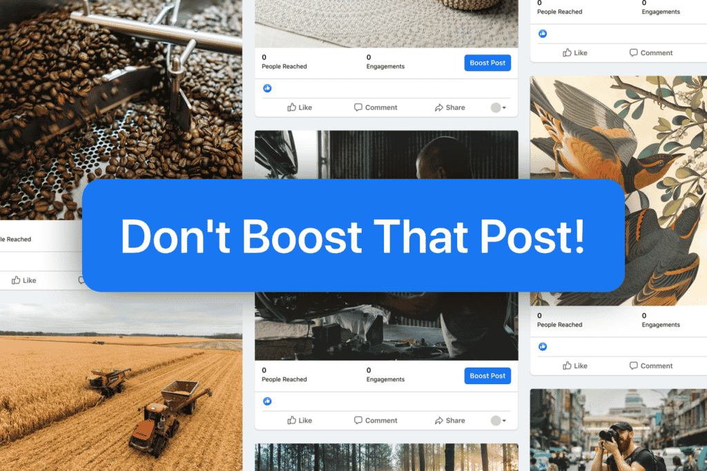 Blue Don't Boost That Post button over Facebook business posts