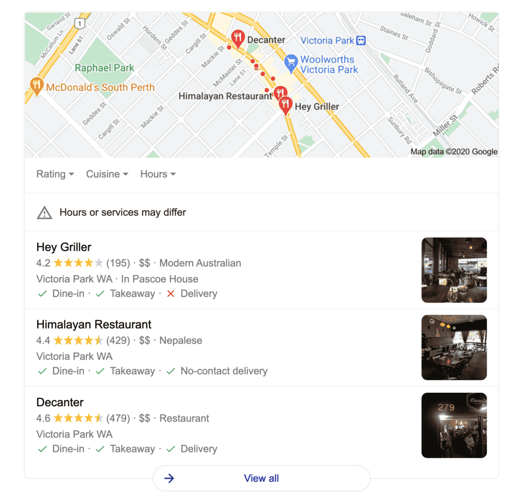 "Google location results for ""restaurants near me"" in Victoria Park"