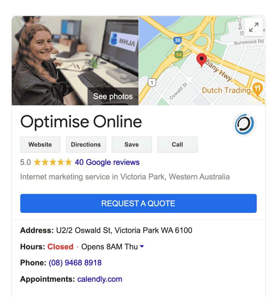 "Google search results for ""Optimise Online"" show media from Google My Business"