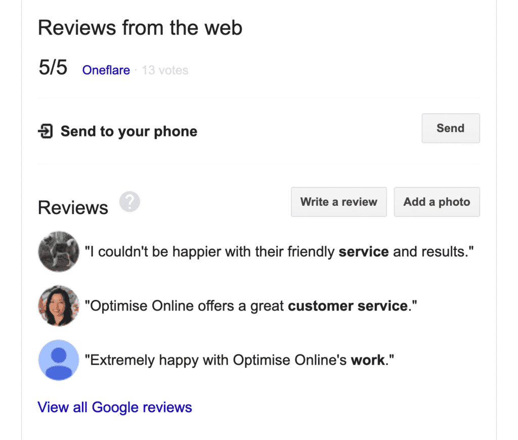 "Google search results for ""Optimise Online"" show reviews from Google My Business"