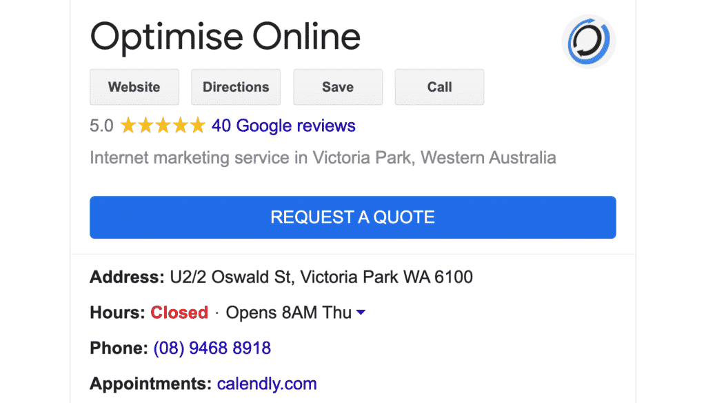 Screenshot of Optimise Online's Google My Business profile in Google search results